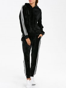 Velvet Hoodie And Sweatpants - Black