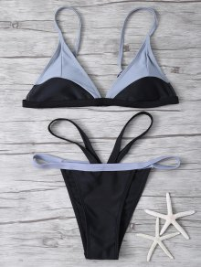 High Cut Color Block Bathing Suit - Black M