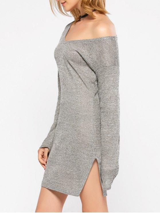 Side Slit V Neck Jumper Dress - GRAY L Mobile