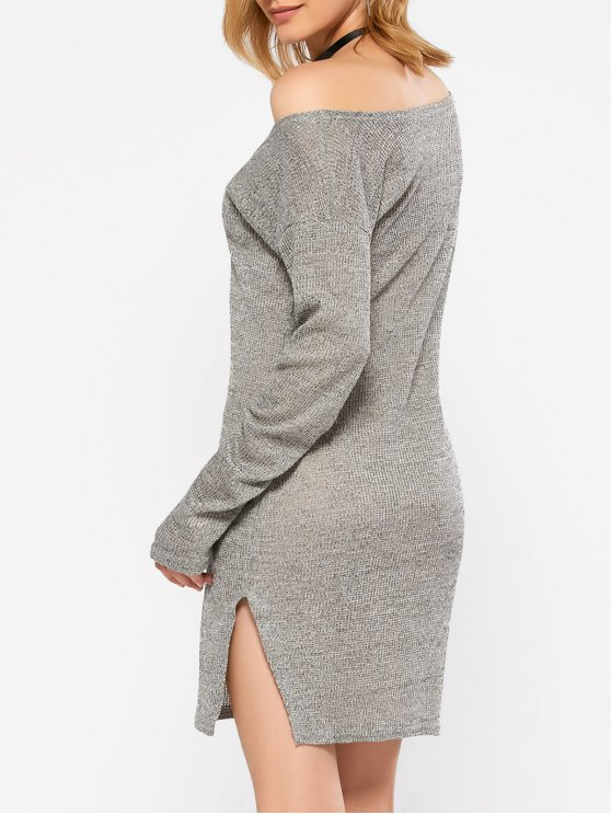Side Slit V Neck Jumper Dress - GRAY M Mobile