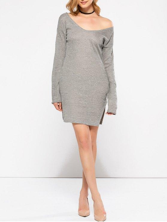 Side Slit V Neck Jumper Dress - GRAY S Mobile