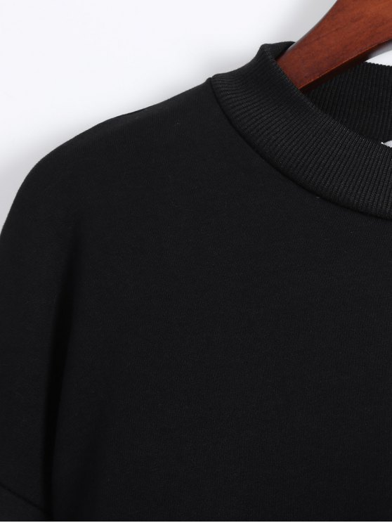 Side Slit Graphic Sweatshirt - BLACK ONE SIZE Mobile