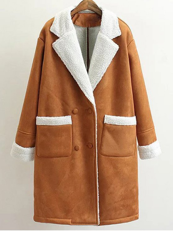 Lapel Faux Shearling Pea Coat - BROWN L Mobile