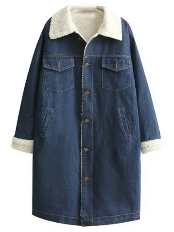 Turndown Collar Faux Shearling Jean Coat - DENIM BLUE S Mobile