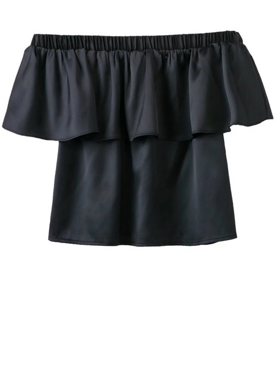 Off The Shoulder Flouncing Blouse - BLACK L Mobile