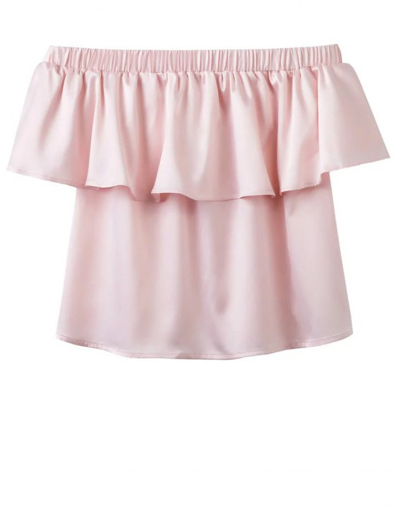 buy Off The Shoulder Flouncing Blouse - PINK S
