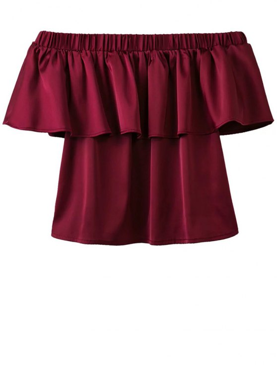 best Off The Shoulder Flouncing Blouse - WINE RED S