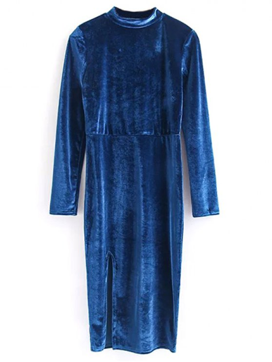 lady Vintage Velvet Slit Dress - BLUE M