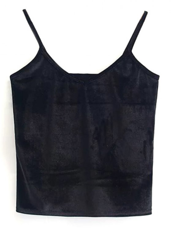 Velvet Cropped Tank Top - BLACK ONE SIZE Mobile