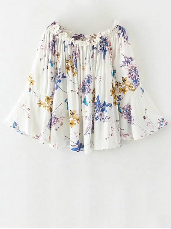Off The Shoulder Flare Sleeve Floral Blouse - WHITE S Mobile