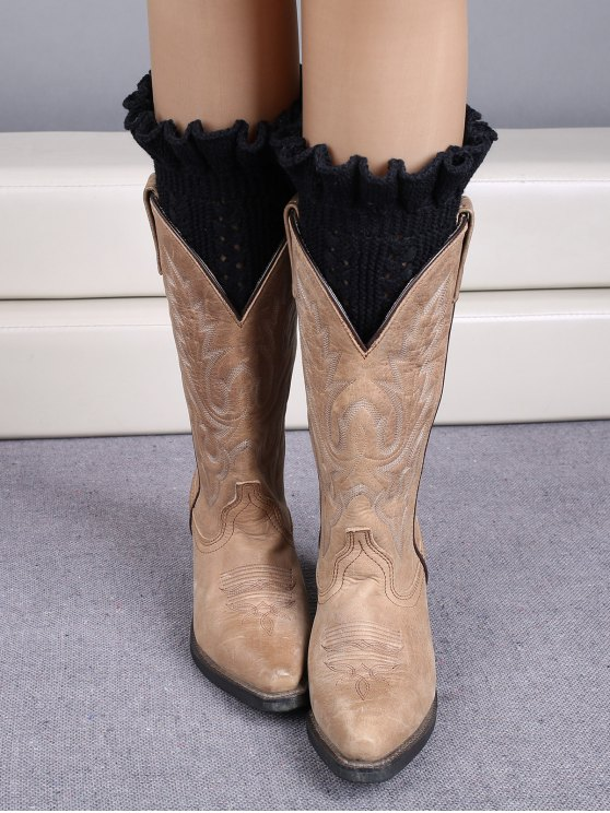 chic Ruffled Knit Boot Cuffs - BLACK