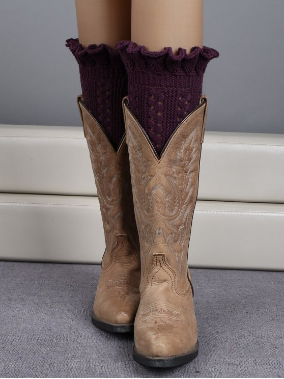women Ruffled Knit Boot Cuffs - DEEP PURPLE