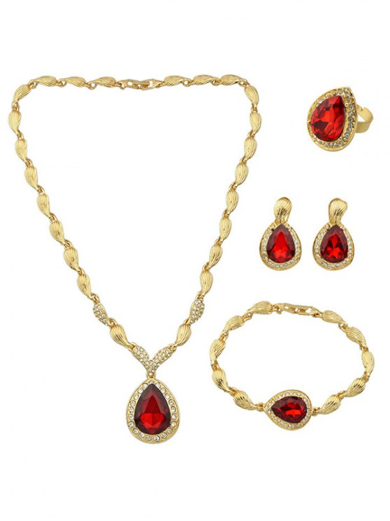 Faux Ruby Necklace Earrings Bracelet and Ring -   Mobile