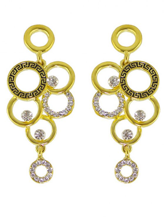 Rhinestoned Round Necklace and Earrings -   Mobile