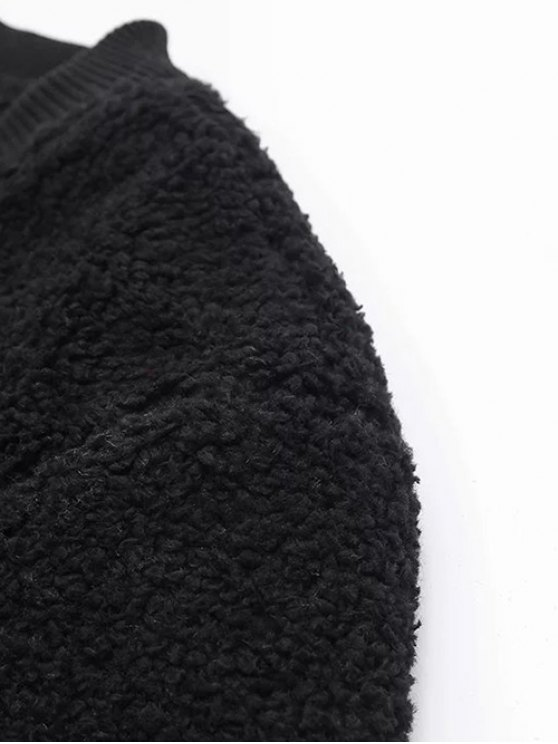 Zip-Up Lamb Wool Jacket - BLACK L Mobile