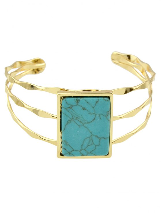 Layered Natural Stone Geometric Cuff Bracelet - BLUE  Mobile