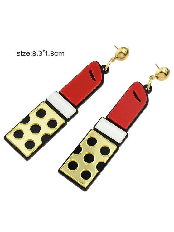 Lipstick Drop Earrings - GOLDEN  Mobile