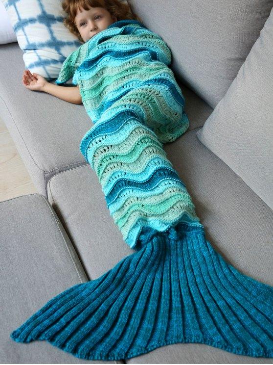Couverture tricotée ajourée en forme de sirène avec couleurs jointives - Multicolore