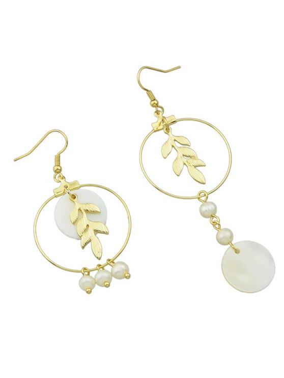 Asymmetric Faux Pearl Leaf Earrings -   Mobile