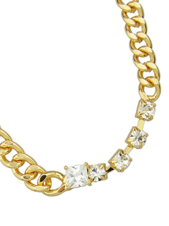 Faux Leather Rhinestone Layered Necklace - GOLDEN  Mobile