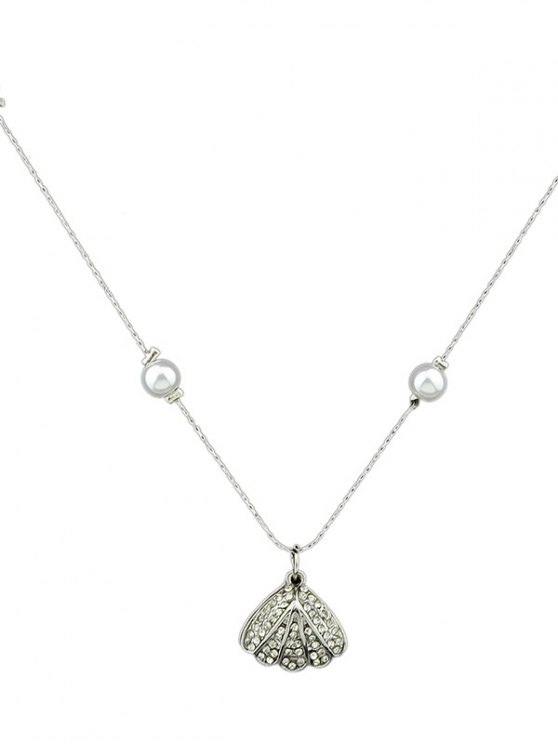 Rhinestoned Artificial Pearl Conch Necklace -   Mobile