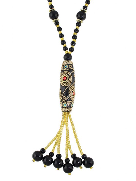 Bohemian Style Beads Necklace - BLACK  Mobile