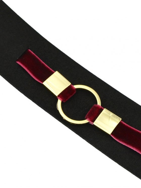 PU Leather Velvet Circle Choker Necklace - RED  Mobile