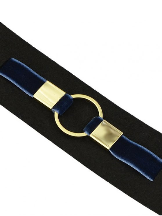 PU Leather Velvet Circle Choker Necklace - BLUE  Mobile