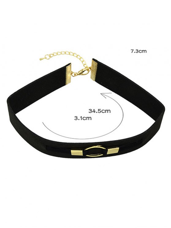 PU Leather Velvet Circle Choker Necklace -   Mobile