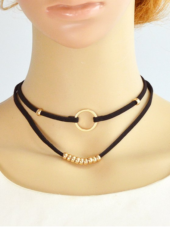 Artificial Leather Velvet Circle Layered Choker - GOLDEN  Mobile