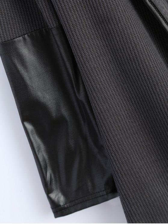 PU Leather Insert Long Sleeve Cardigan - DEEP GRAY XL Mobile