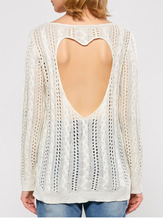 Heart Cutout Back Open Stitch Sweater - WHITE M Mobile