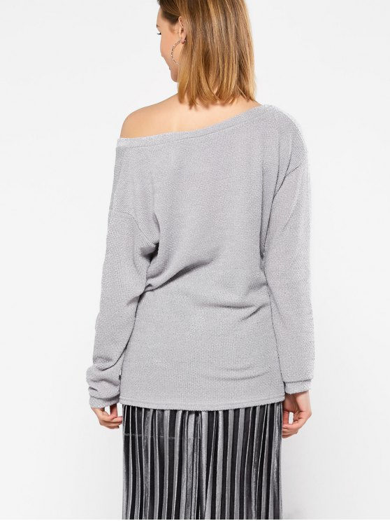 Long Sleeve V Neck Jumper - GRAY M Mobile