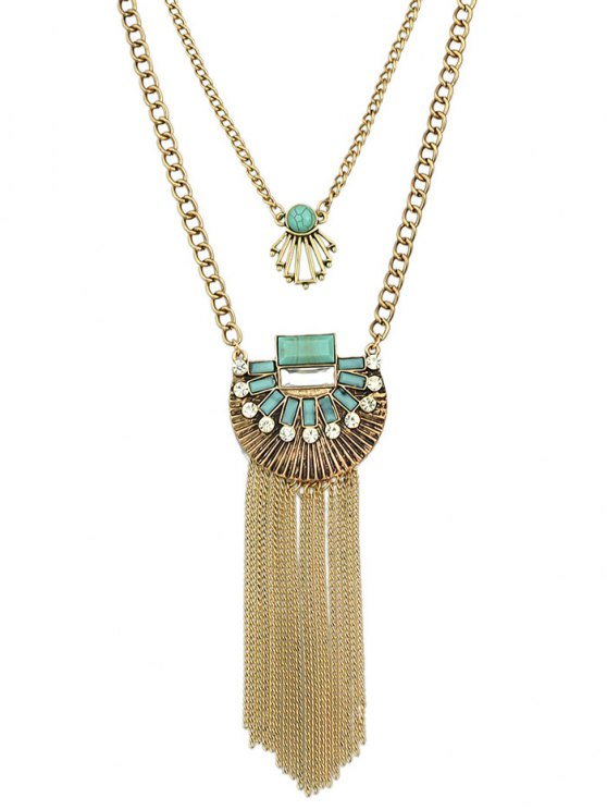 Artificial Turquoise Rhinestone Geometric Layered Necklace -   Mobile