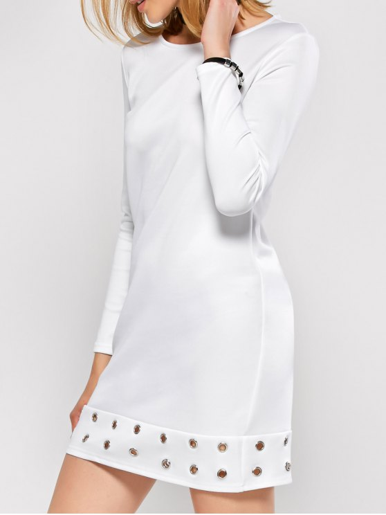 Long Sleeve Jewel Neck Hollow Out Dress - WHITE M Mobile