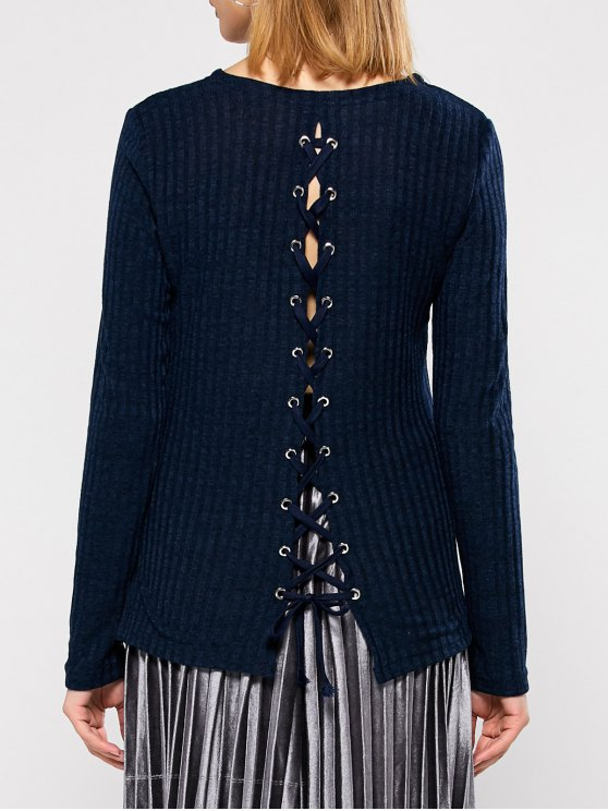 Back Lace Up Sweater - PURPLISH BLUE XL Mobile