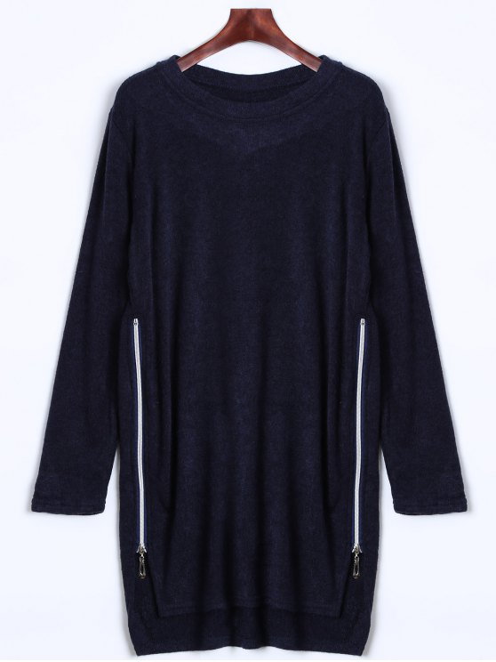buy Side Zipper Sweater Dress - CADETBLUE L
