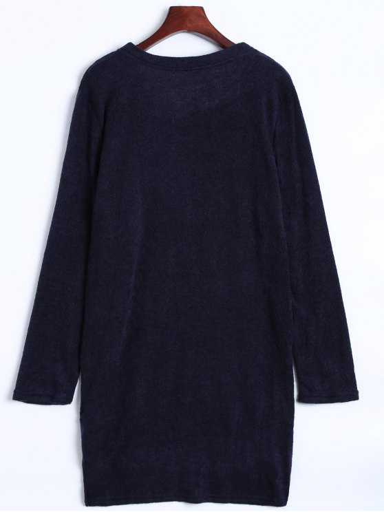 Side Zipper Sweater Dress - CADETBLUE L Mobile