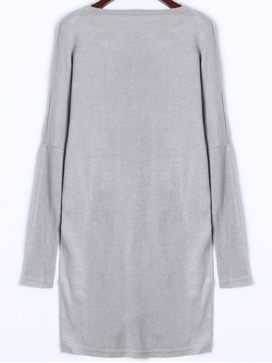 V Neck Batwing Sleeve Sweater - GRAY XL Mobile