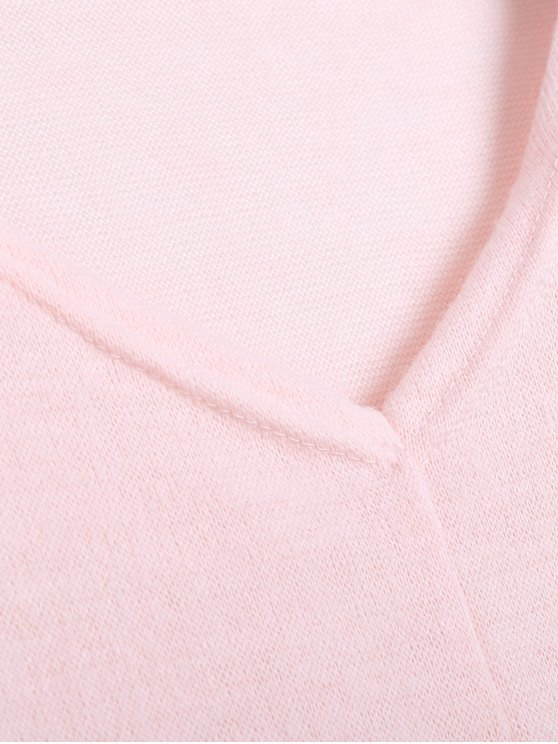 V Neck Batwing Sleeve Sweater - PINK L Mobile