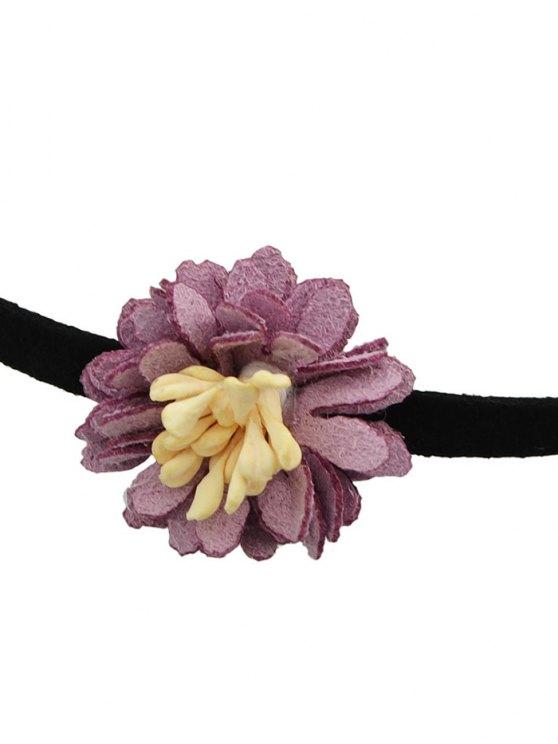 Artificial Leather Flower Velvet Choker Necklace - PURPLE  Mobile