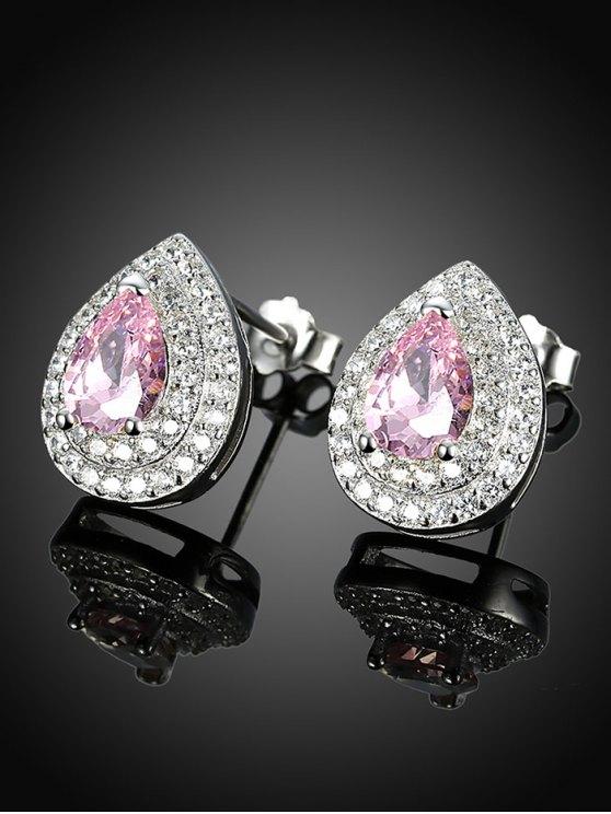 S925 Diamond Teardrop Earrings - PINK  Mobile