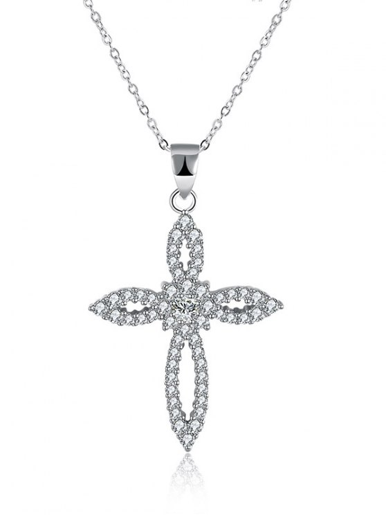 Flower Crucifix S925 Diamond Necklace -   Mobile