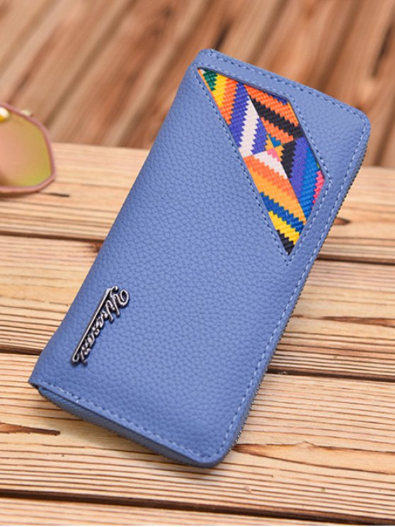 Geometric Pattern Textured Leather Colour Block Wallet - BLUE  Mobile