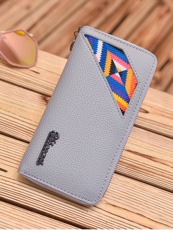 Geometric Pattern Textured Leather Colour Block Wallet - LIGHT GRAY  Mobile