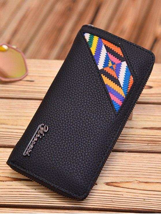 Geometric Pattern Textured Leather Colour Block Wallet - BLACK  Mobile