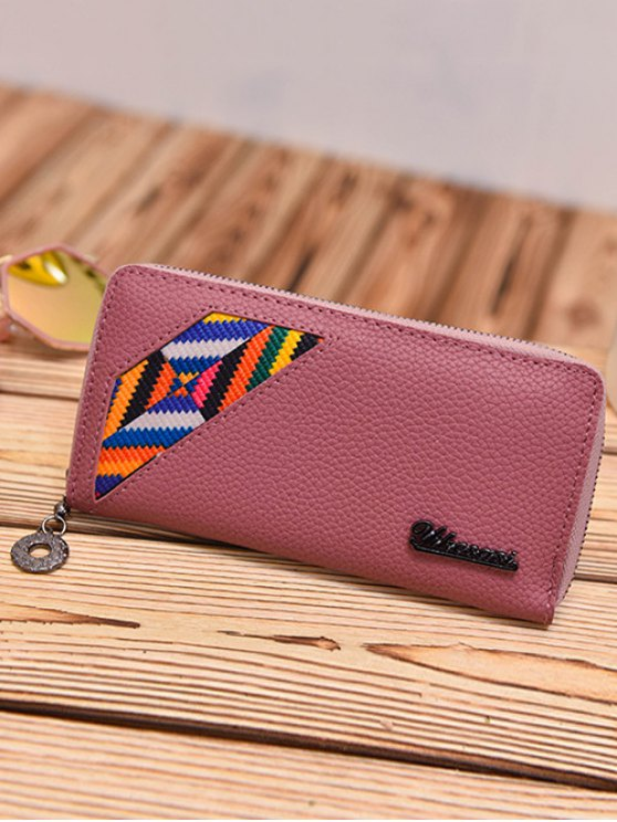 Geometric Pattern Textured Leather Colour Block Wallet - DEEP PINK  Mobile