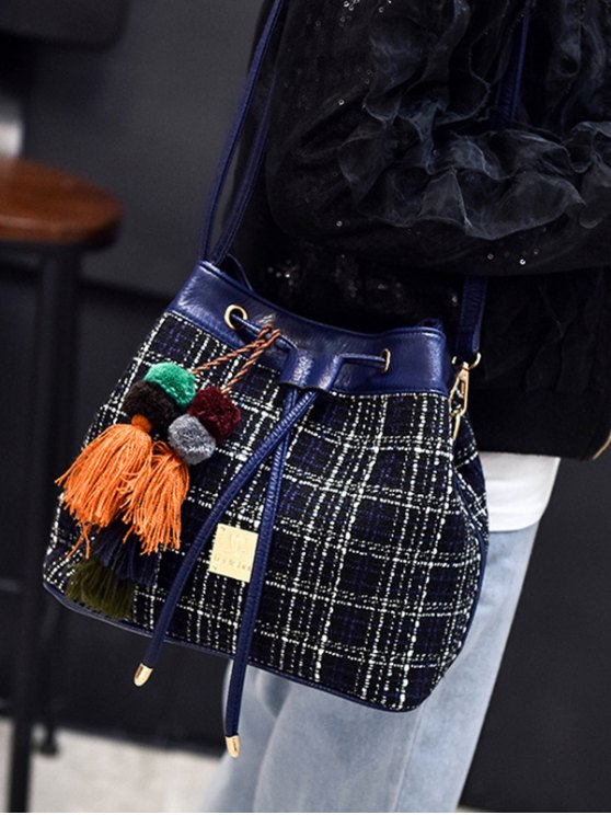 Tweed Drawstring Plaid Pattern Crossbody Bag - DEEP BLUE  Mobile