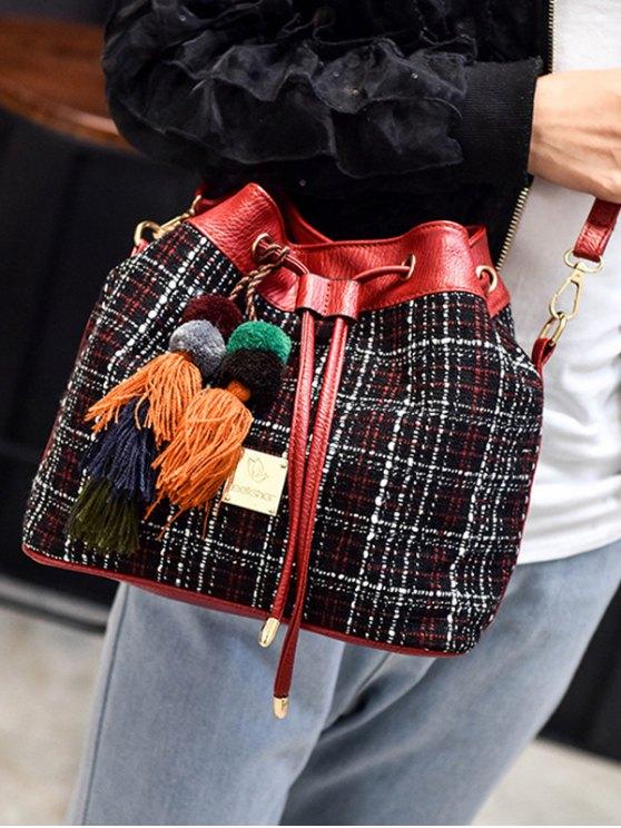 Tweed Drawstring Plaid Pattern Crossbody Bag -   Mobile