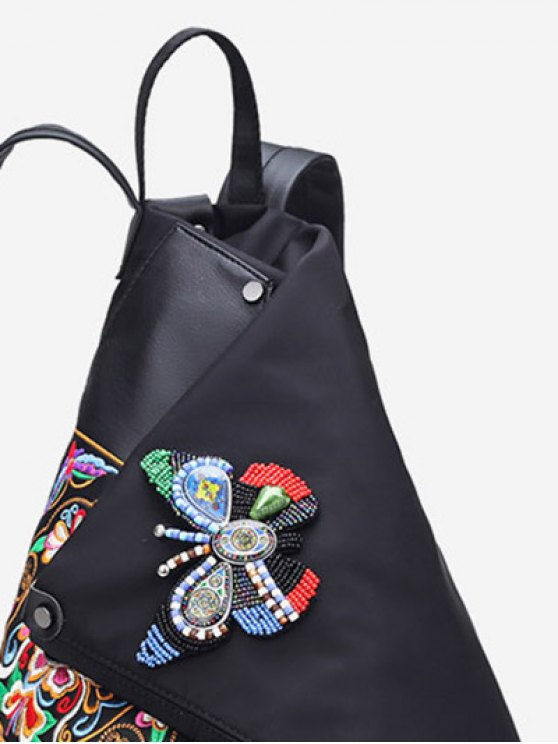 Embroidery Flower Butterfly Pattern Backpack - BLACK  Mobile